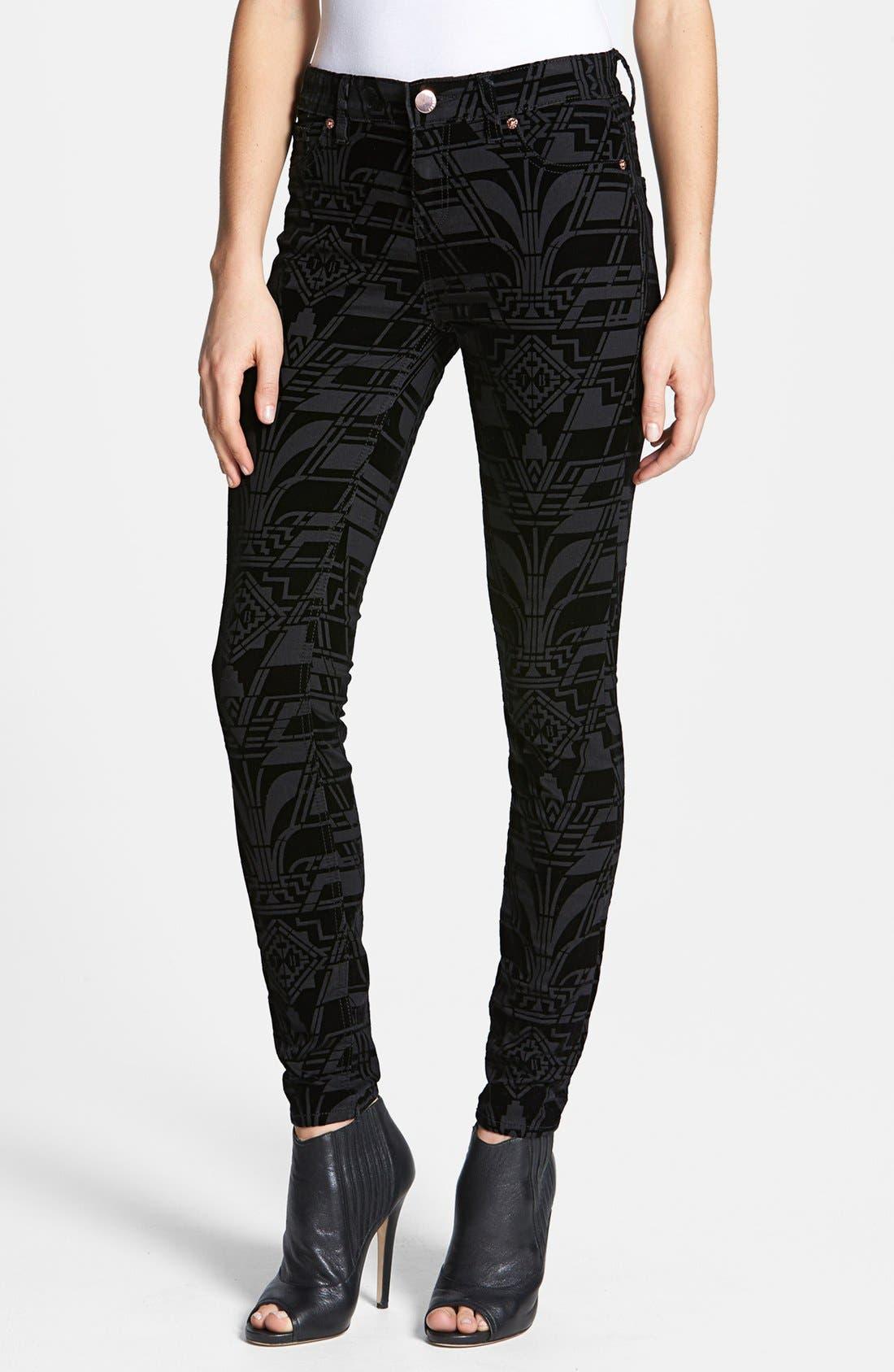 Main Image - Ted Baker London 'Dehme' Velvet Jeans (Black)