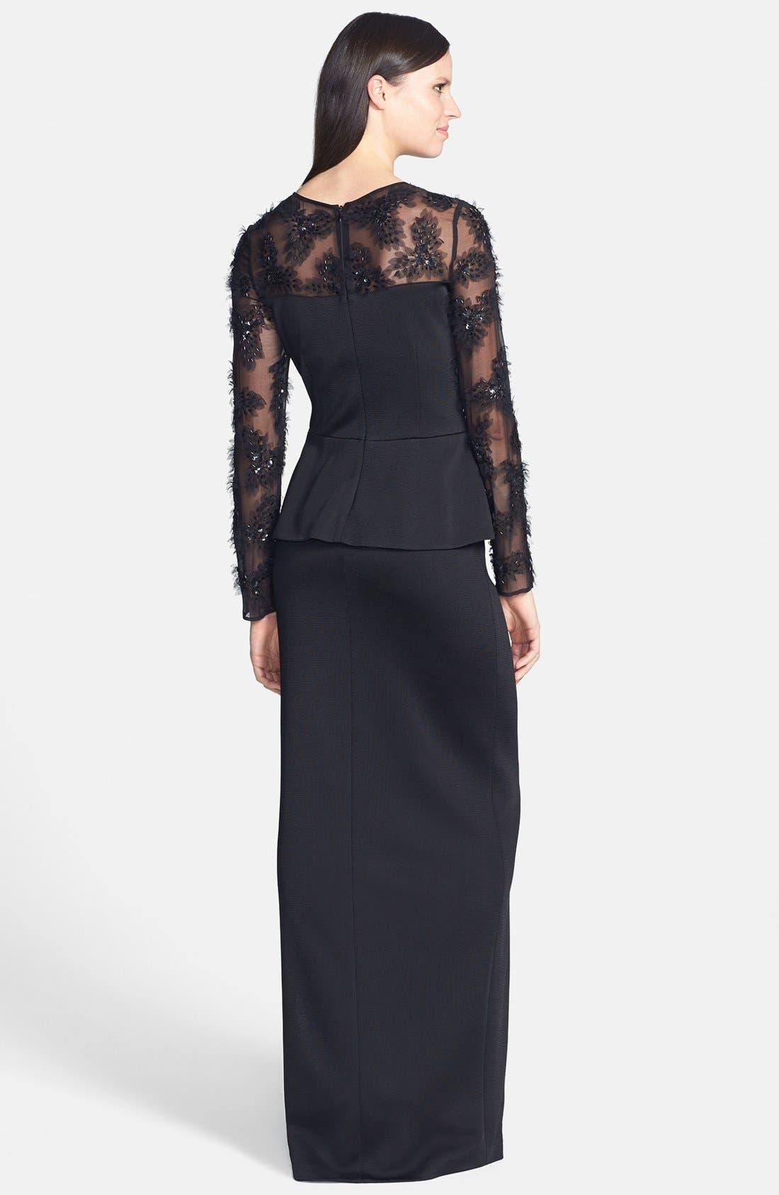 Alternate Image 2  - St. John Collection Tulle Trim Sateen Milano Knit Peplum Gown