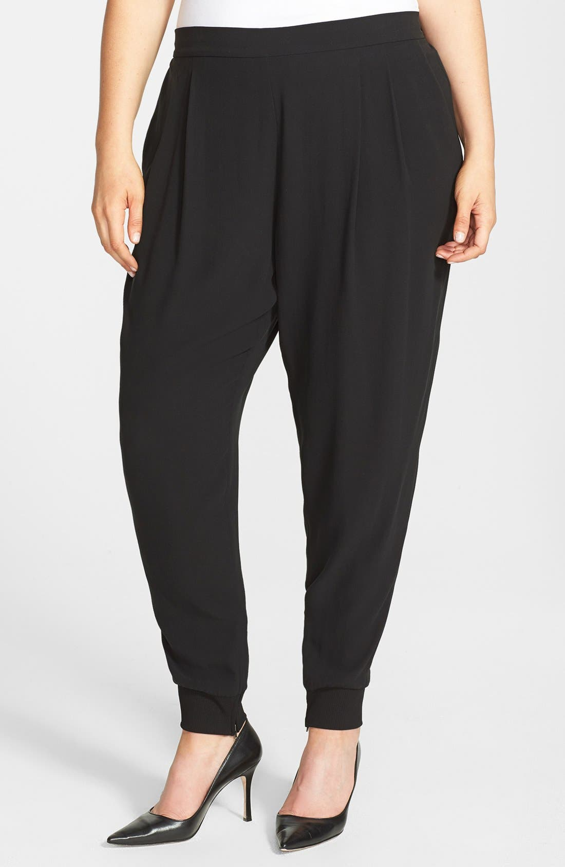 Alternate Image 1 Selected - Eileen Fisher Cuffed Silk Ankle Pants (Plus Size)