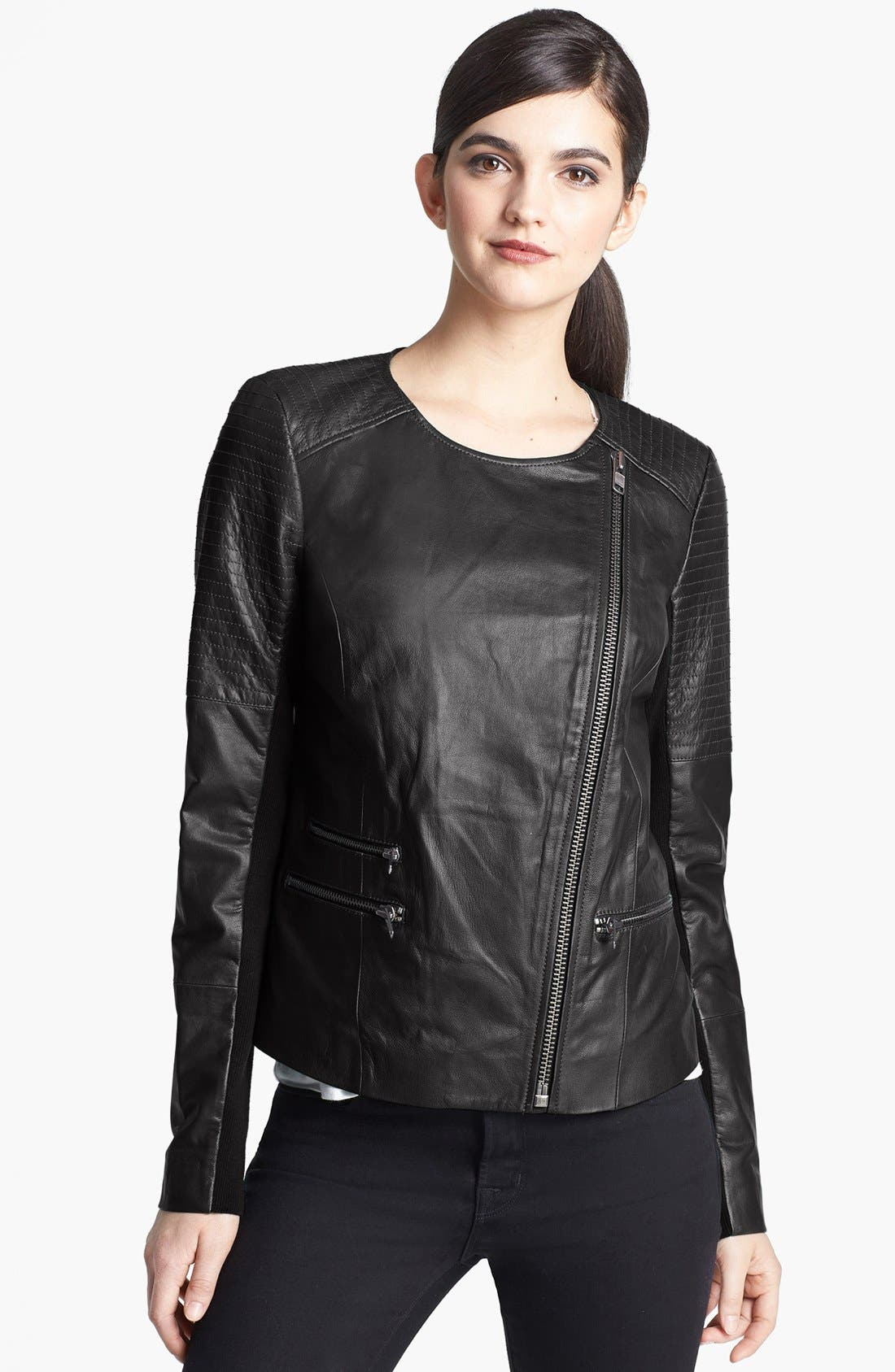 Main Image - Trouvé Quilted Leather Moto Jacket