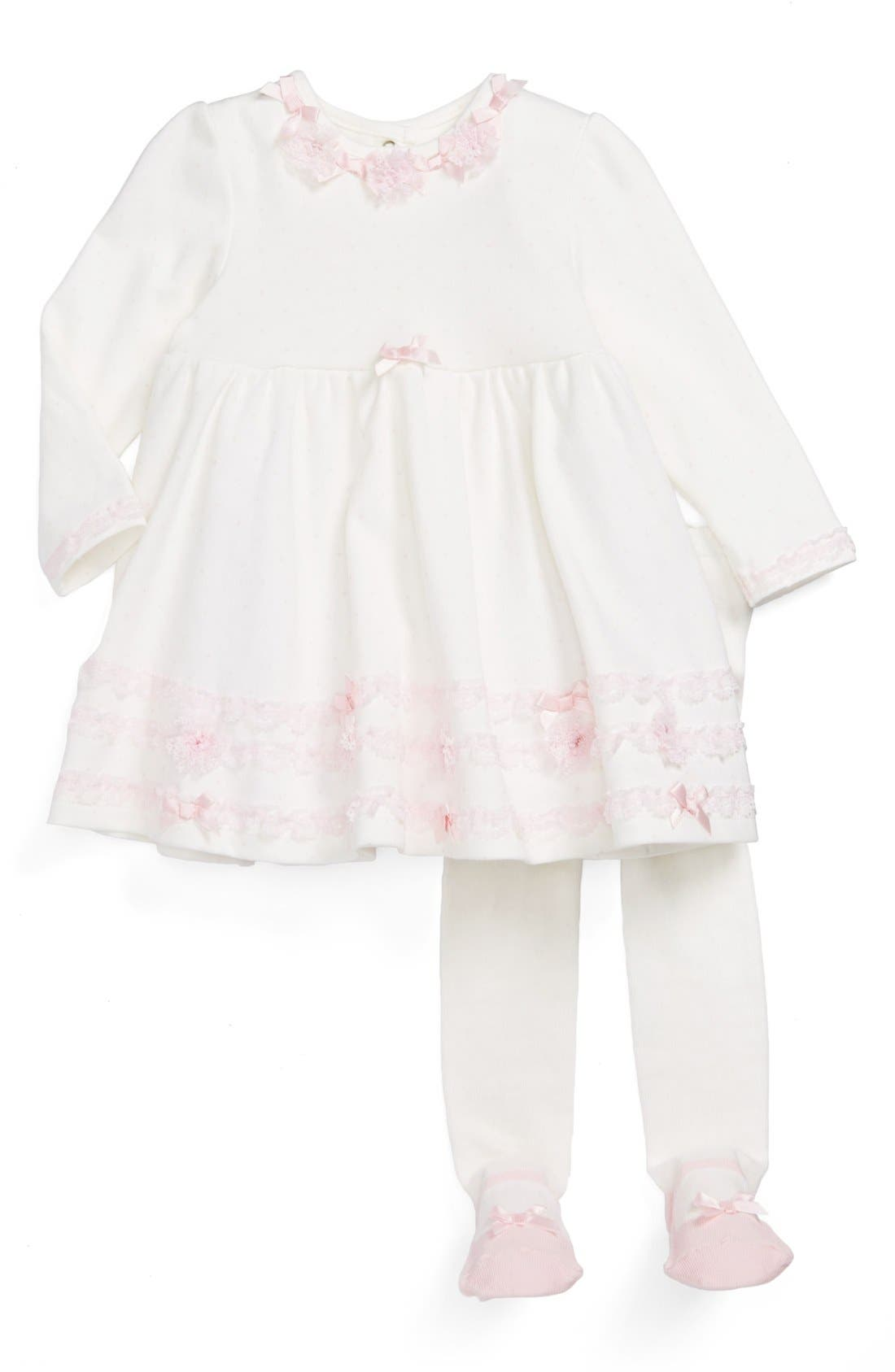 Alternate Image 1 Selected - Little Me Long Sleeve Lace Trim Dress & Footie Leggings (Baby Girls)