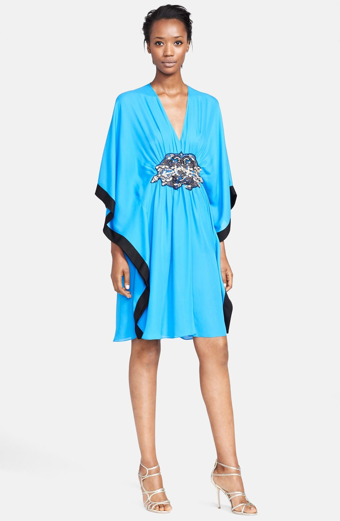 Main Image - Naeem Khan Jewel Detail Silk Georgette Caftan