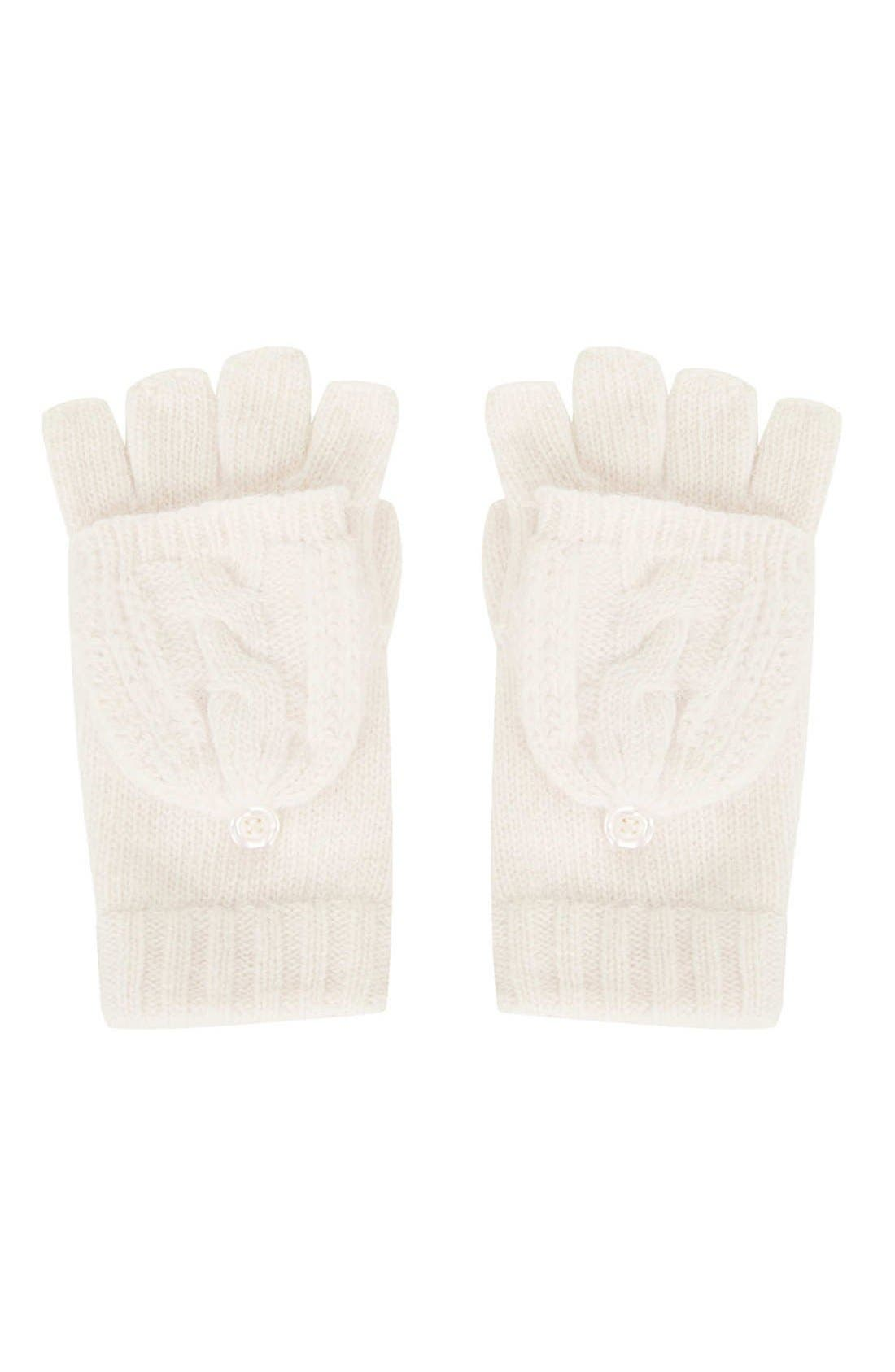 Alternate Image 1 Selected - Topshop Cable Knit Convertible Mittens