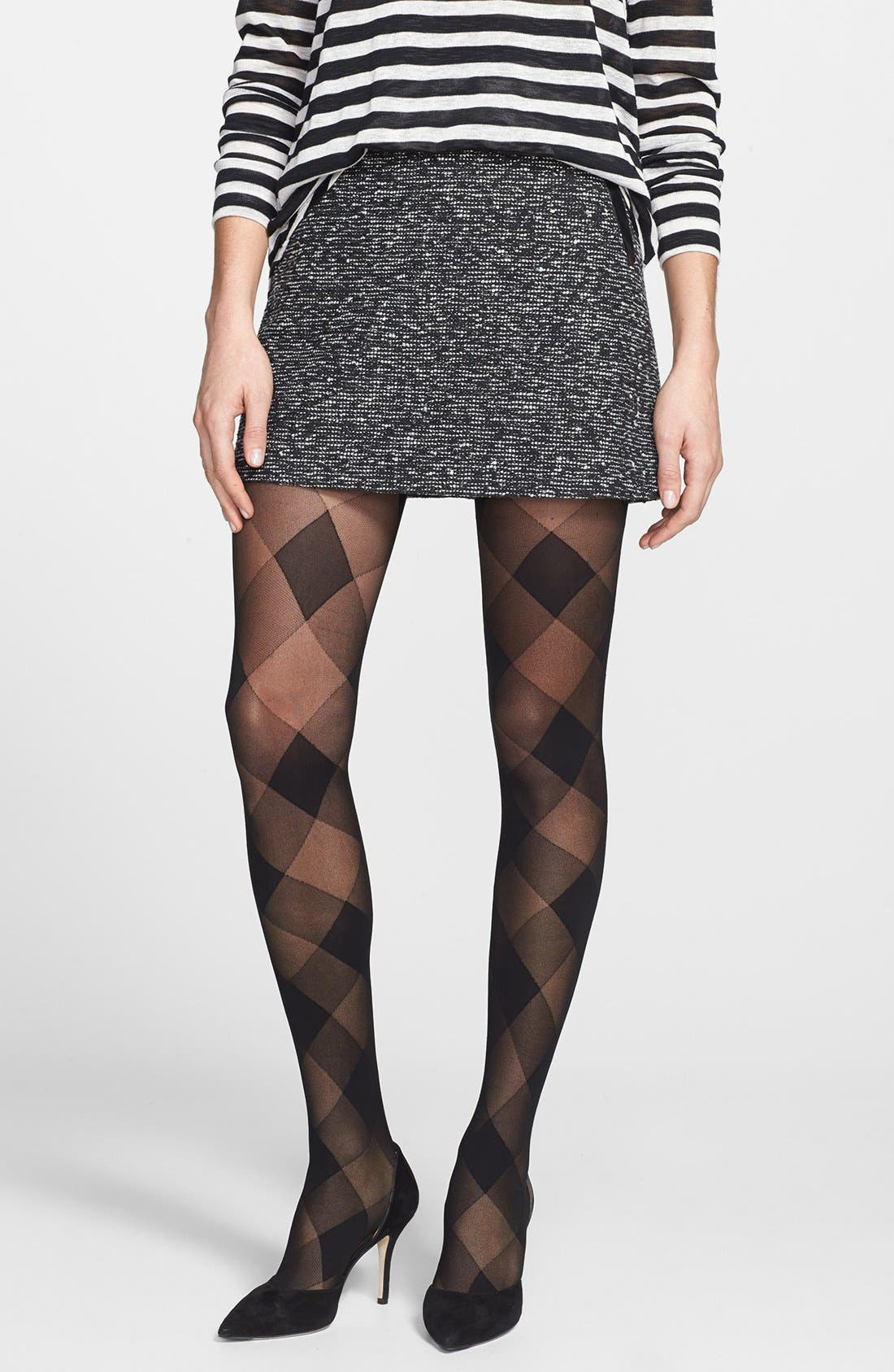 'Perfect Plaid' Tights,                             Main thumbnail 1, color,                             Black