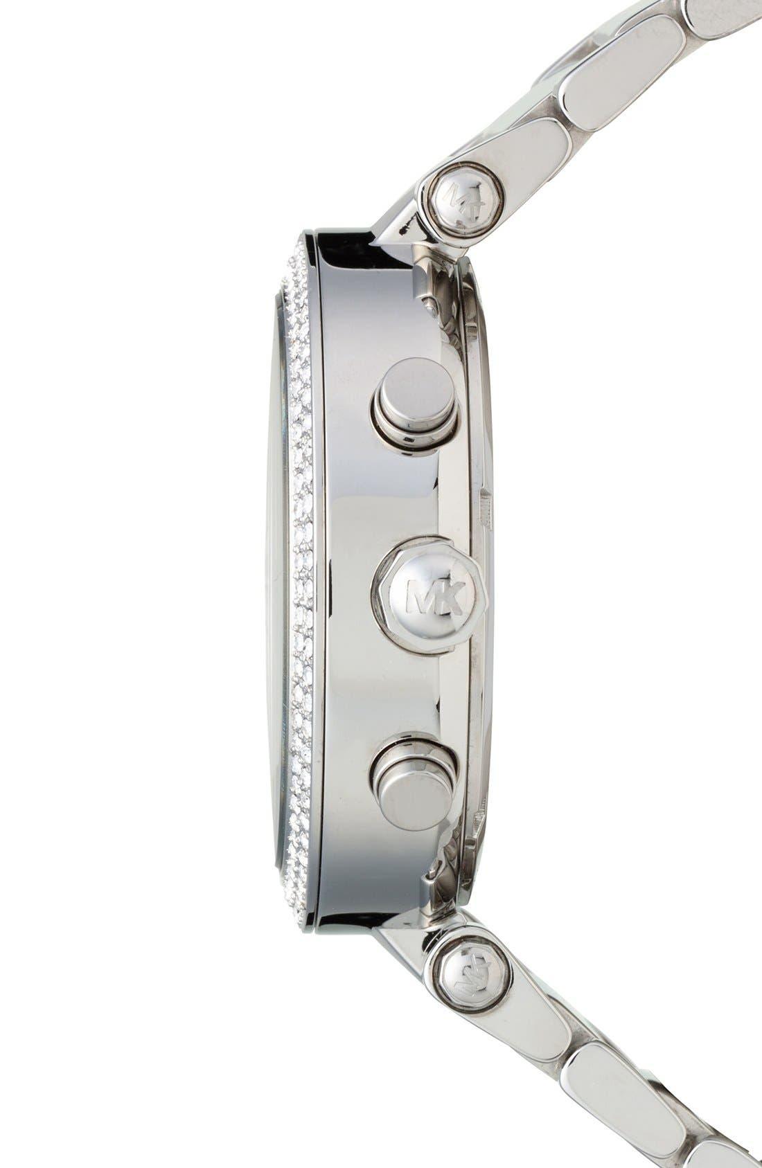 Michael Kors 'Parker' Chronograph Bracelet Watch, 39mm,                             Alternate thumbnail 3, color,                             Silver