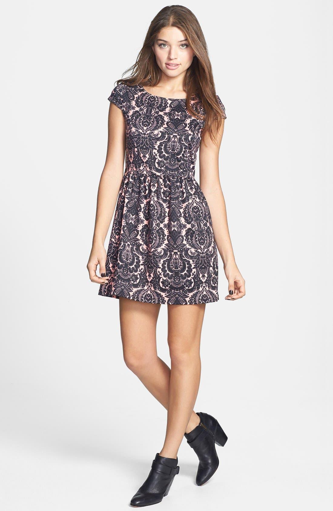 Alternate Image 1 Selected - Socialite Print Skater Dress (Juniors) (Online Only)