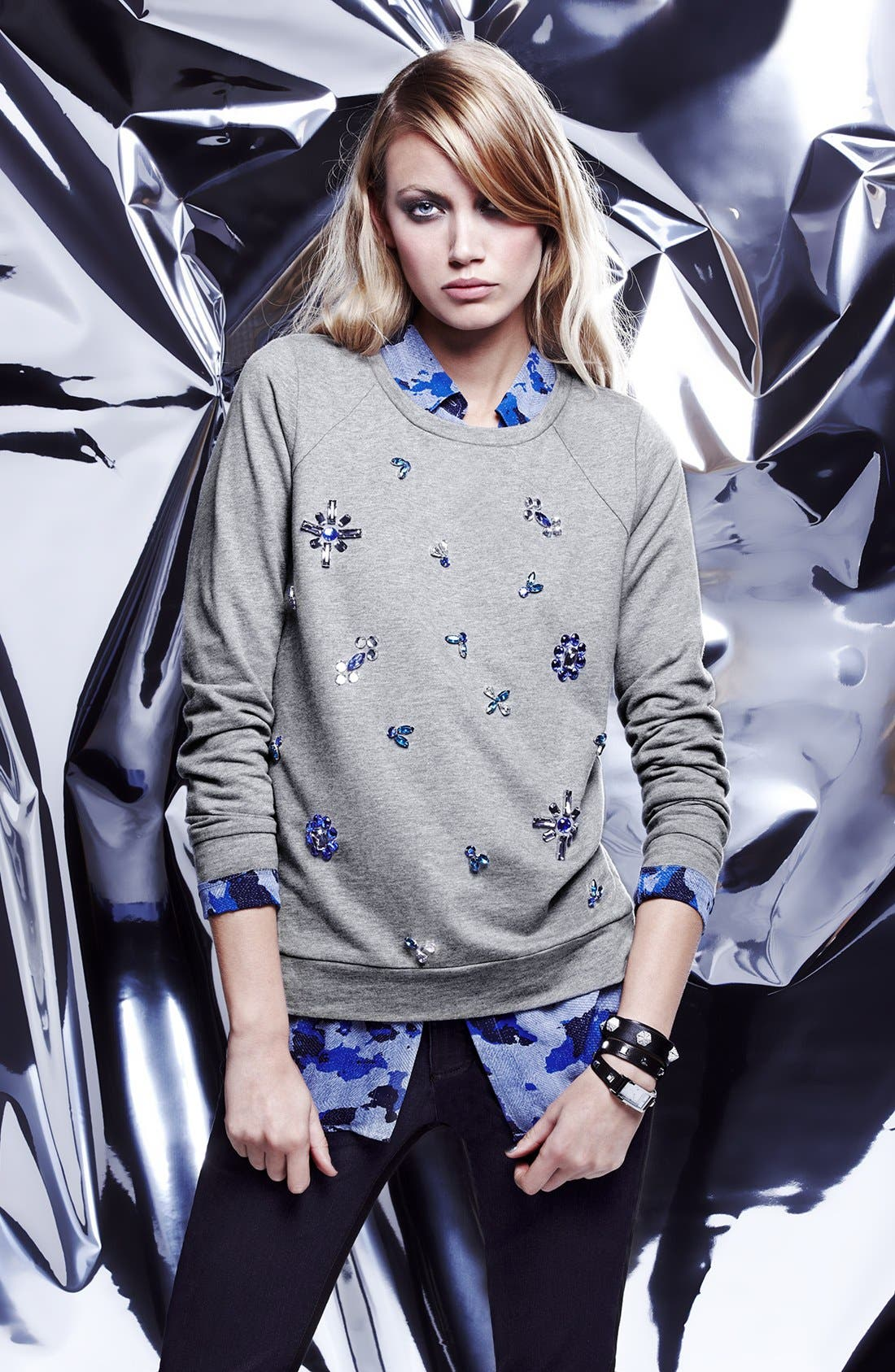 Alternate Image 5  - Two by Vince Camuto Jeweled Baseball Sweatshirt