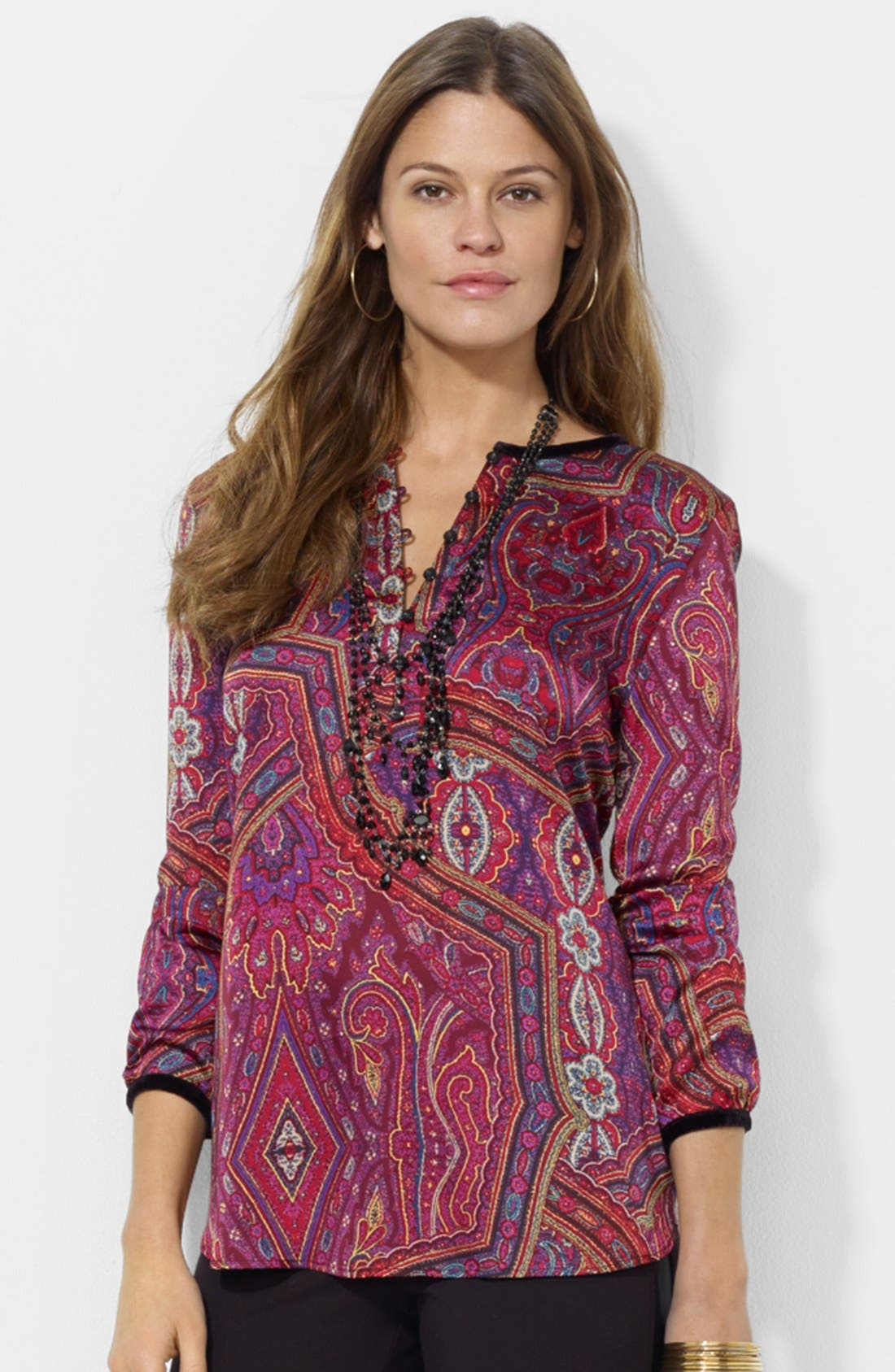Alternate Image 1 Selected - Lauren Ralph Lauren Print Charmeuse Tunic
