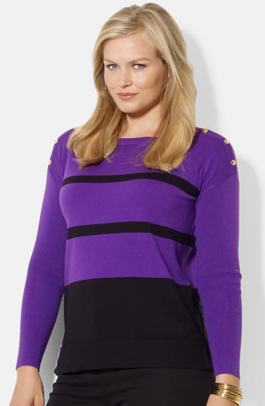 Alternate Image 1 Selected - Lauren Ralph Lauren Cotton Blend Sweater (Plus Size)