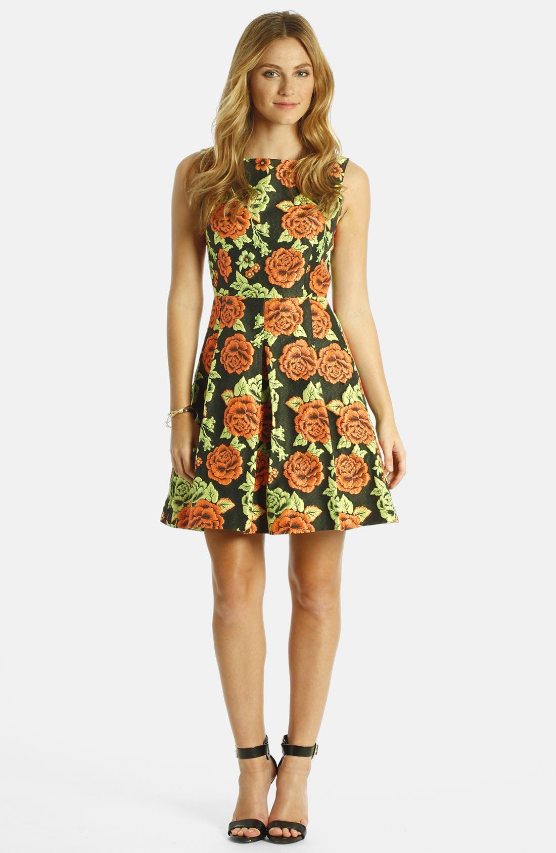 Alternate Image 3  - LABEL by five twelve Floral Jacquard Fit & Flare Dress