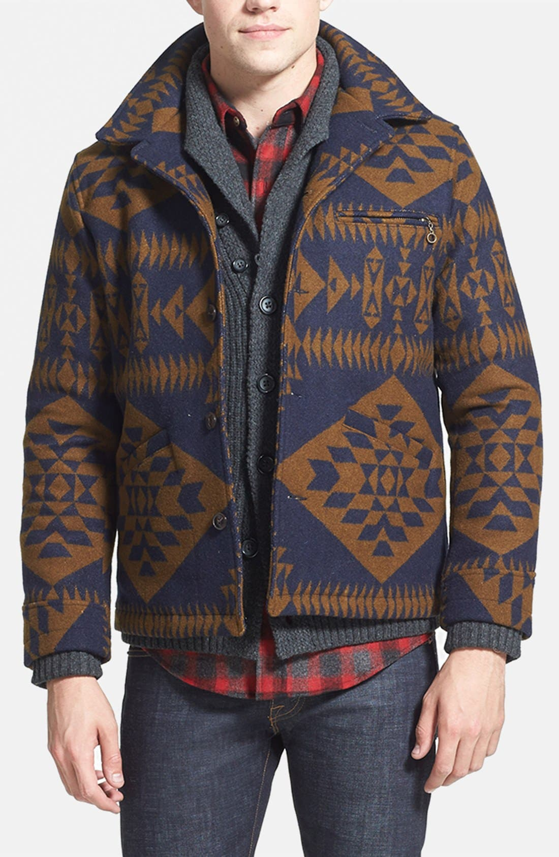 Main Image - Pendleton Jacket, 7 Diamonds Sweater, Pendleton Fitted Flannel Shirt & J Brand Skinny Fit Jeans