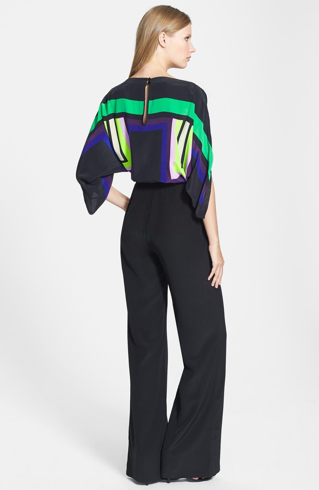 Alternate Image 2  - Diane von Furstenberg 'Lucy' Print Top Silk Jumpsuit