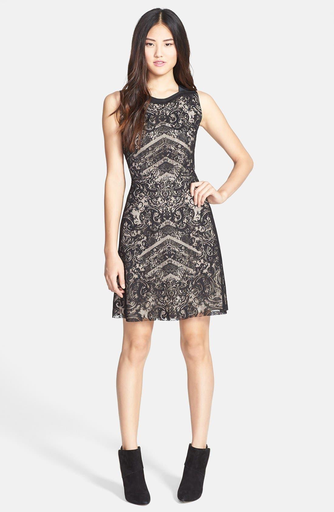 Alternate Image 1 Selected - Kenneth Cole New York 'Skylar' Lace Overlay Sleeveless Dress