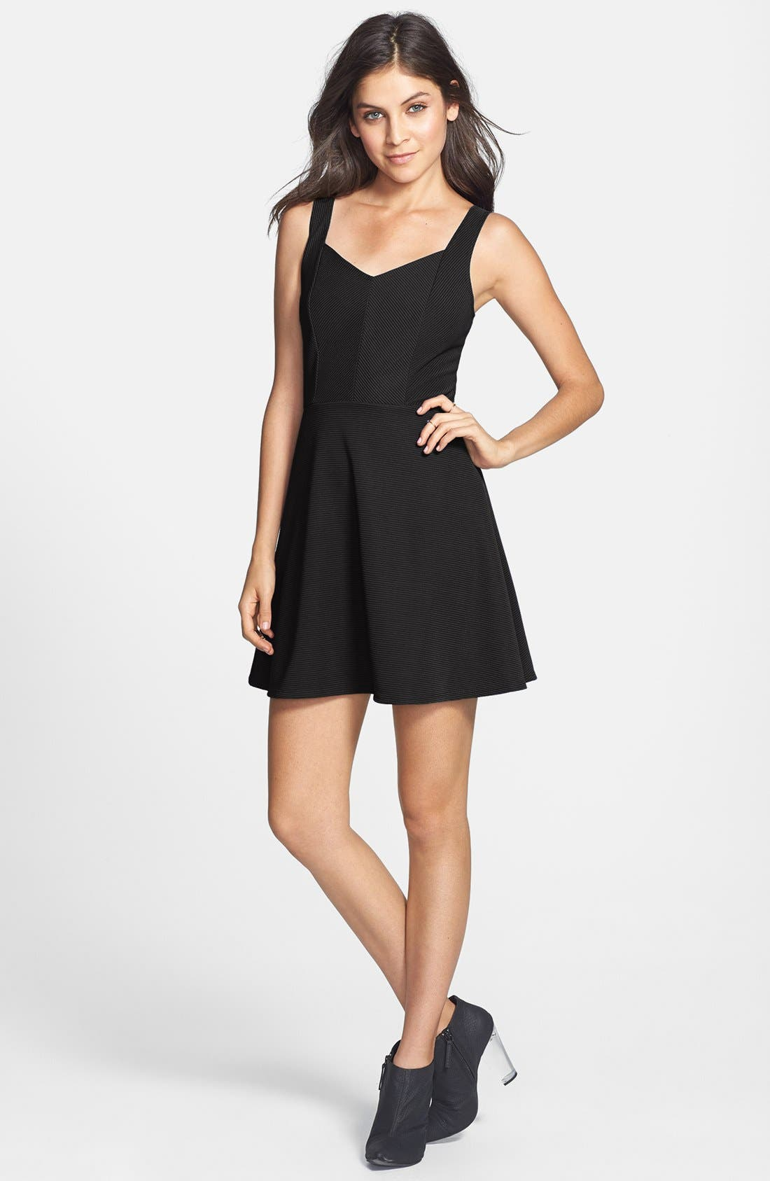 Main Image - Socialite V-Back Ribbed Skater Dress (Juniors)