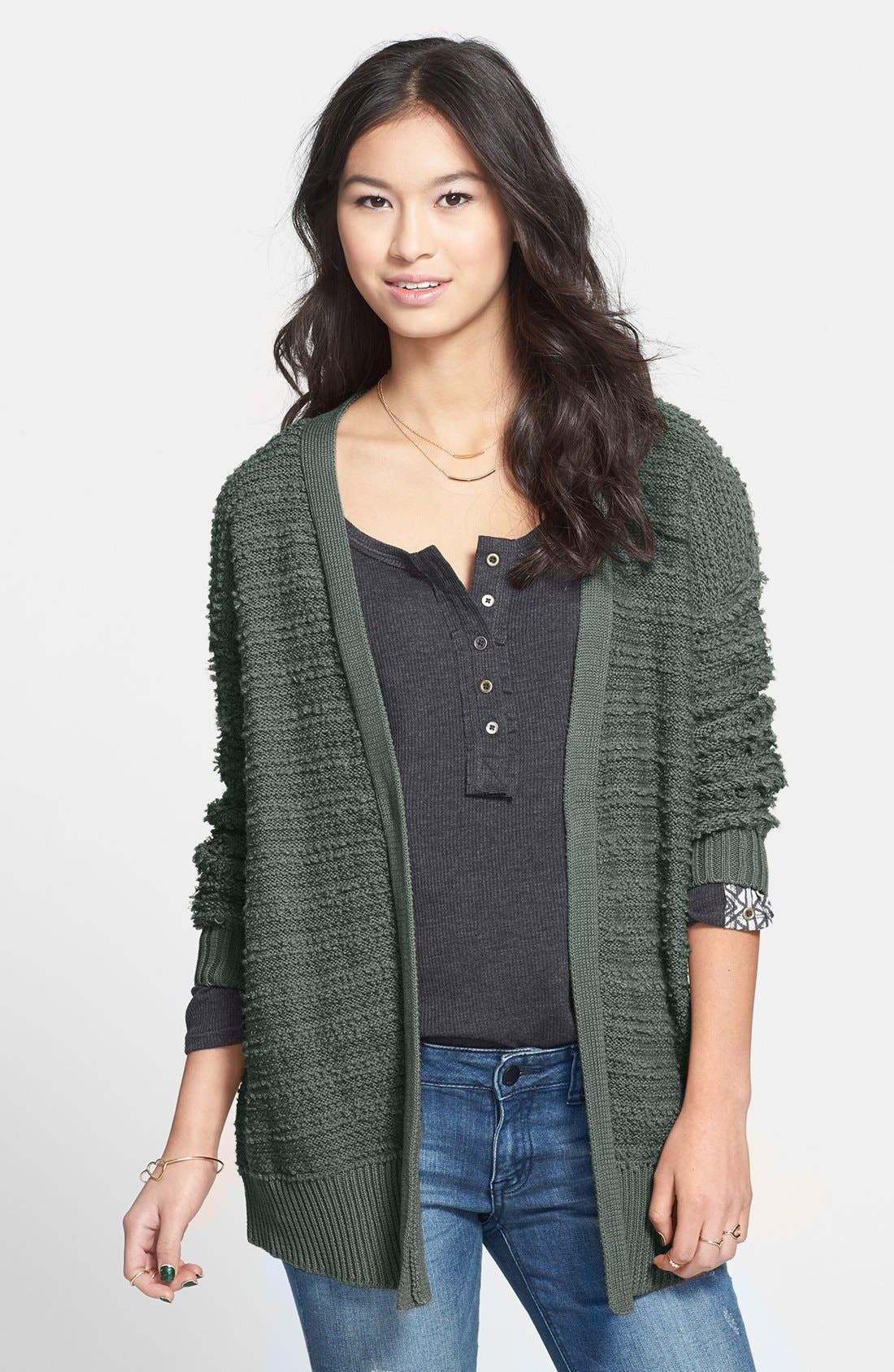 Alternate Image 1 Selected - Rubbish® Split Back Knit Cardigan (Juniors)