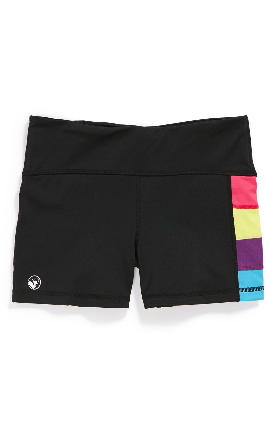 Alternate Image 1 Selected - Limeapple Sporty Stripe Stretch Shorts (Little Girls & Big Girls)