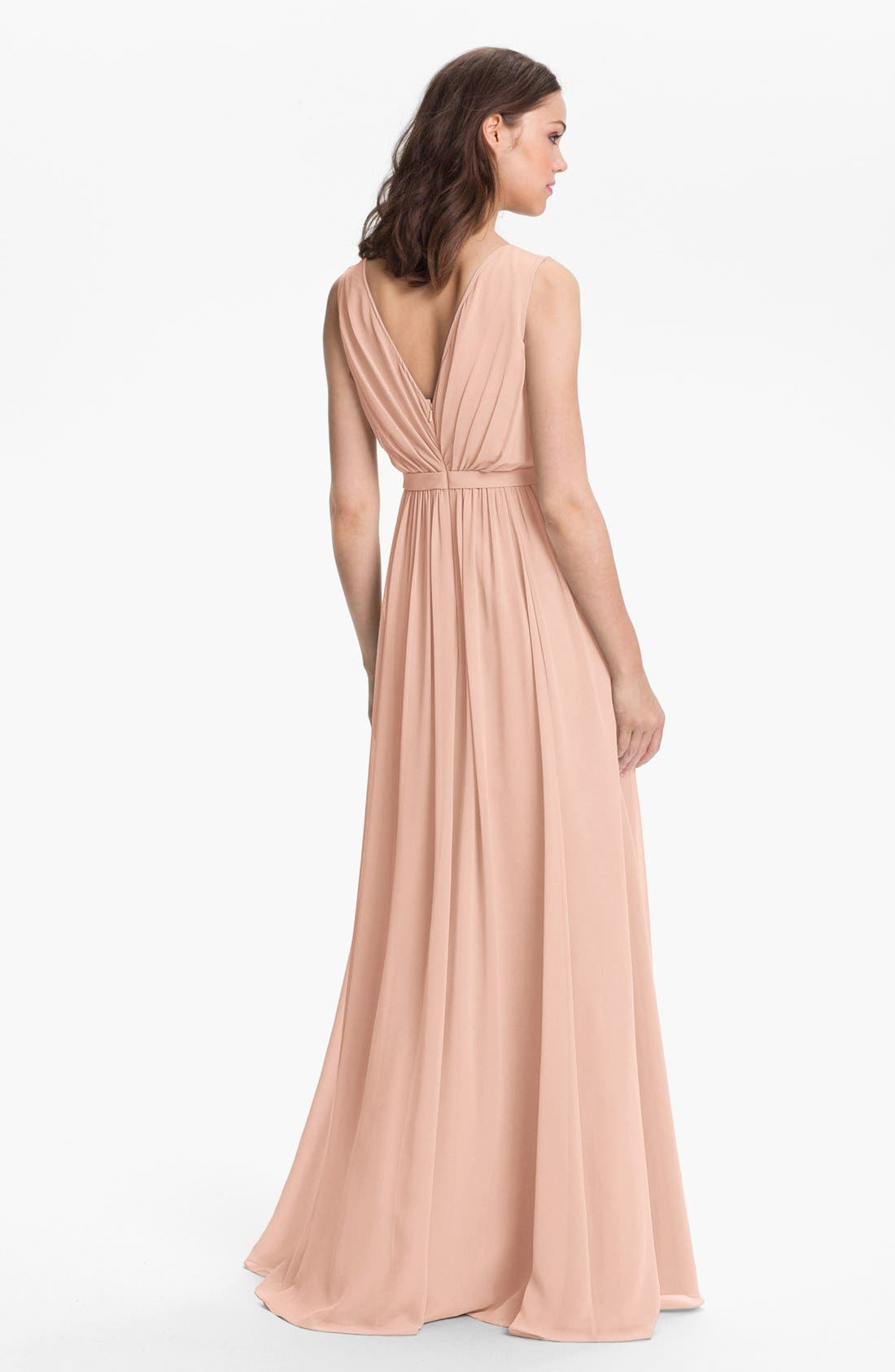 Alternate Image 2  - Jenny Yoo 'Vivienne' Pleated Chiffon Gown