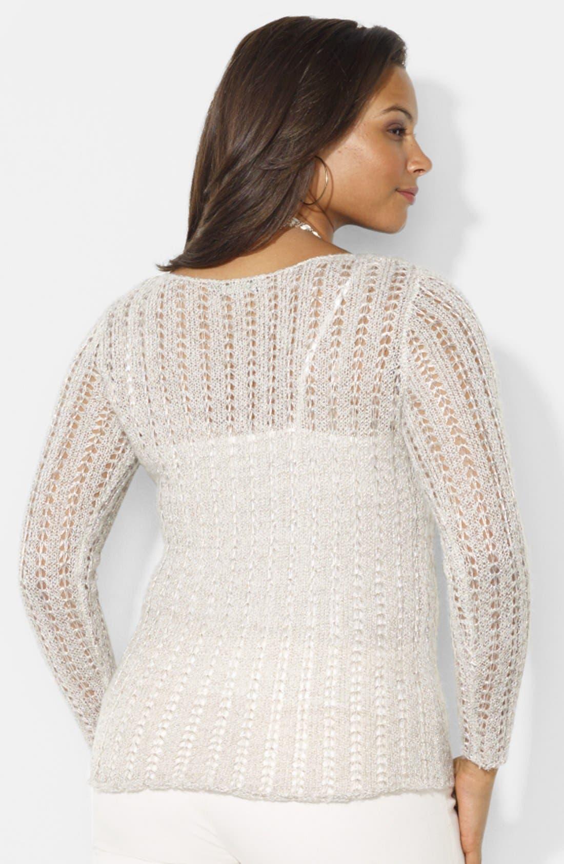 Alternate Image 2  - Lauren Ralph Lauren Metallic Pointelle Knit Sweater (Plus Size)