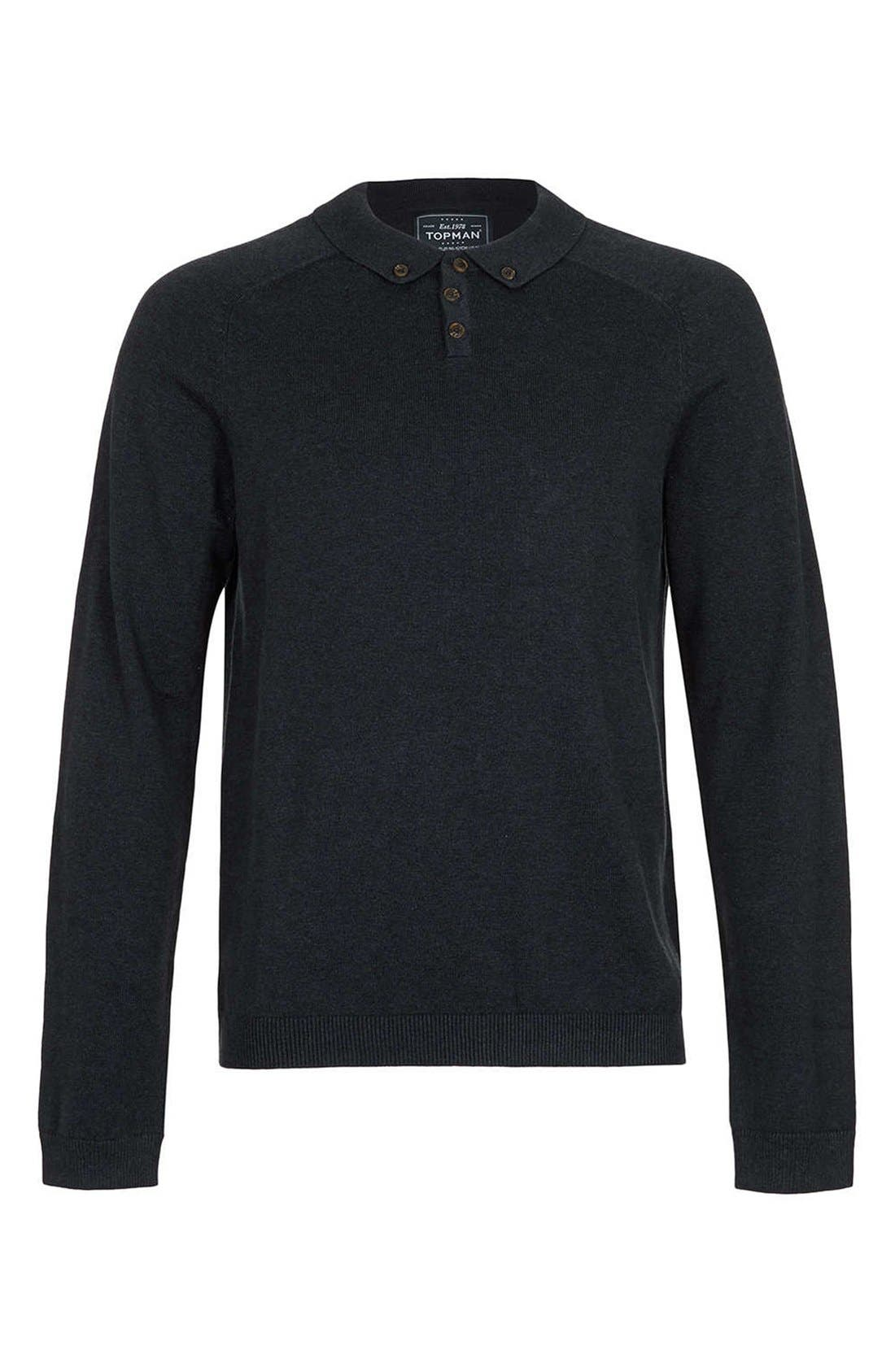 Alternate Image 1 Selected - Topman Long Sleeve Knit Polo
