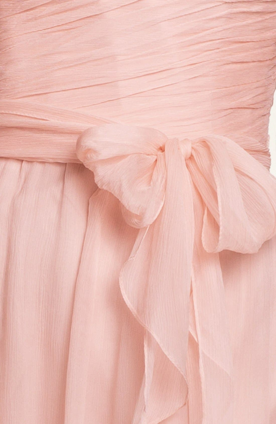 Alternate Image 3  - Amsale One-Shoulder Crinkle Silk Chiffon Dress