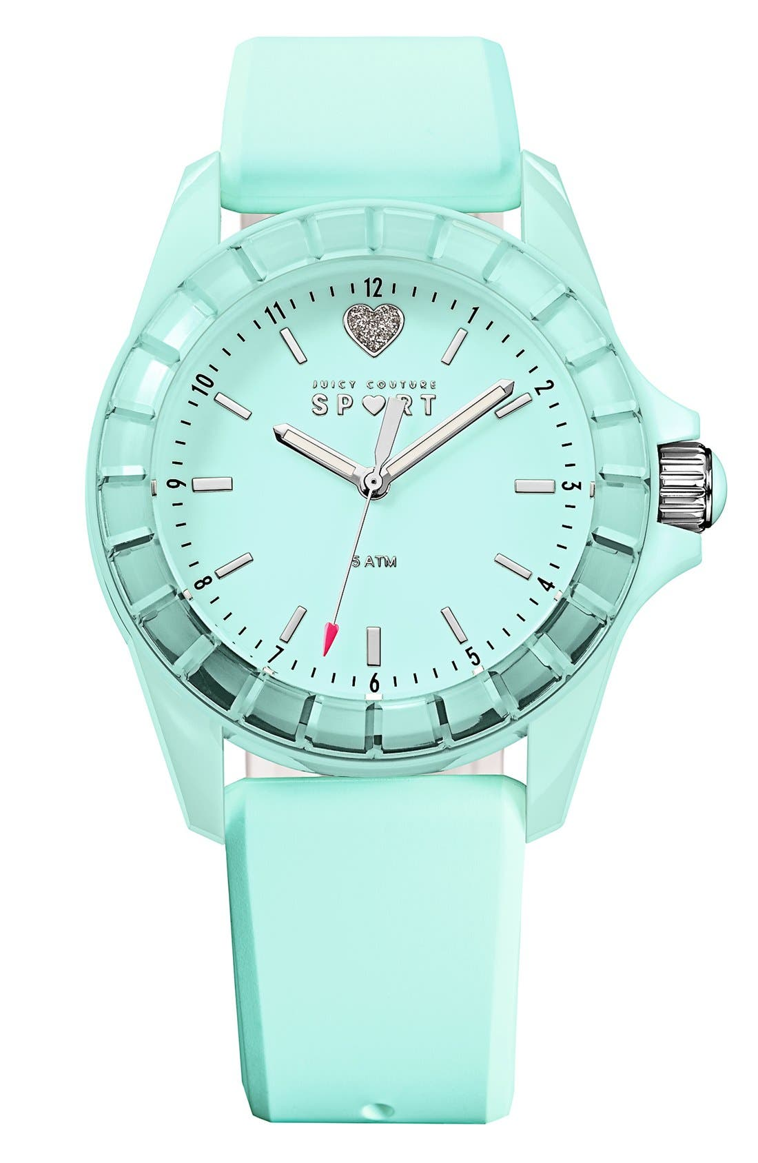 Main Image - Juicy Couture 'Sport' Crystal Bezel Silicone Strap Watch, 40mm