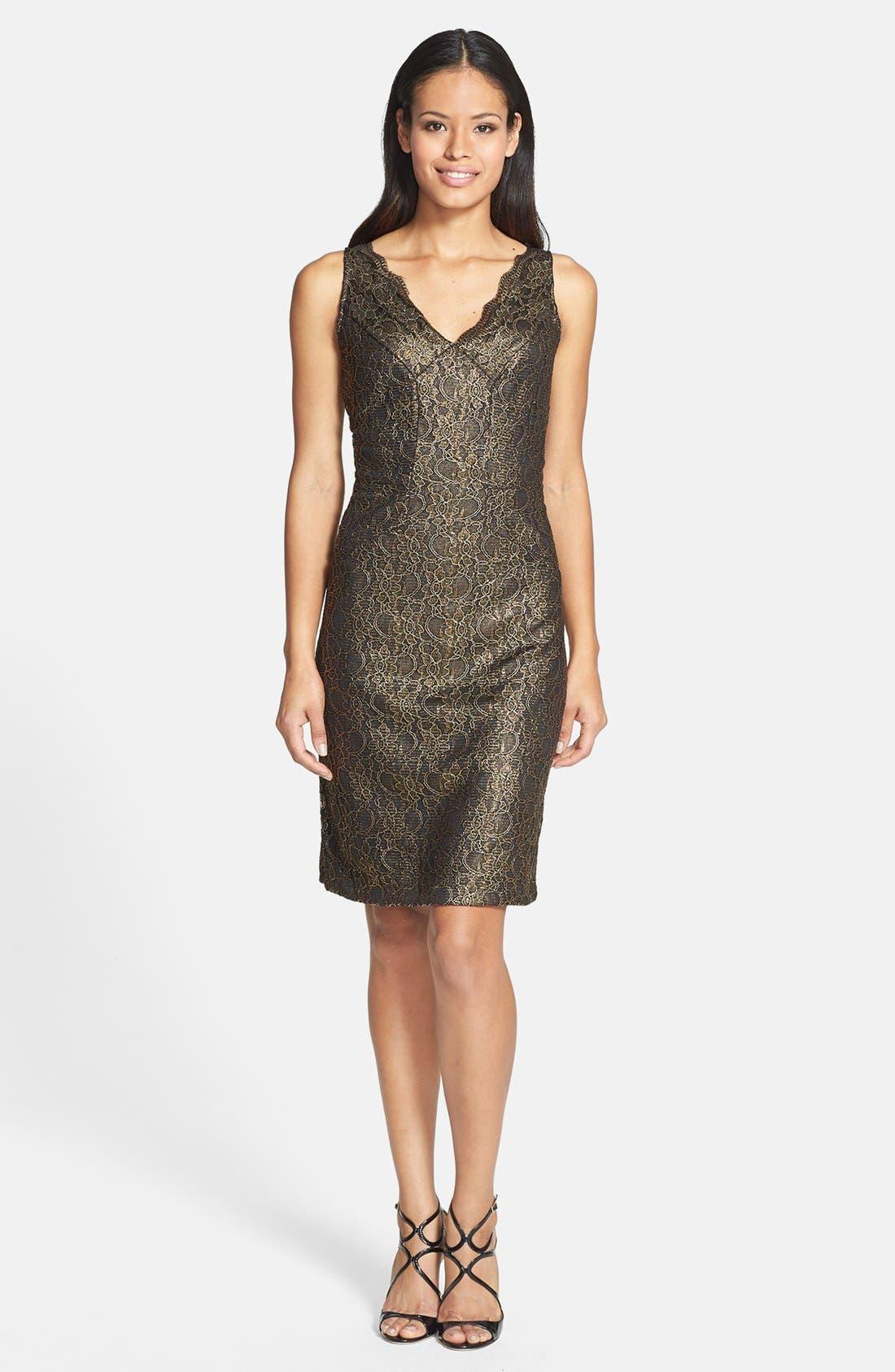 Alternate Image 3  - Donna Ricco Metallic Lace Sheath Dress