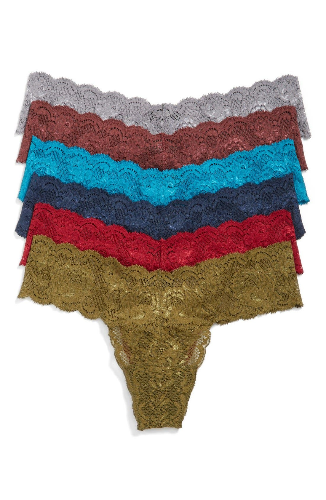 Alternate Image 1 Selected - Cosabella 'Never Say Never Cutie' Low Rise Lace Thong (6-Pack) (Online Only)