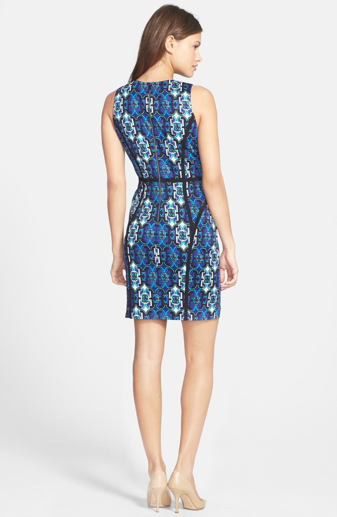Alternate Image 2  - Marc New York by Andrew Marc Seamed Print Ponte Sheath Dress