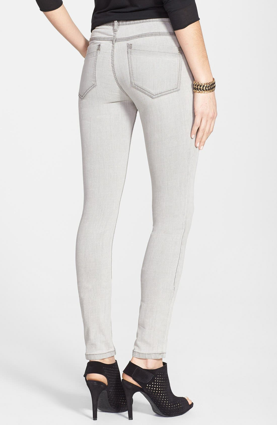 Alternate Image 2  - Free People Stretch Skinny Jeans (Cloudy Grey)