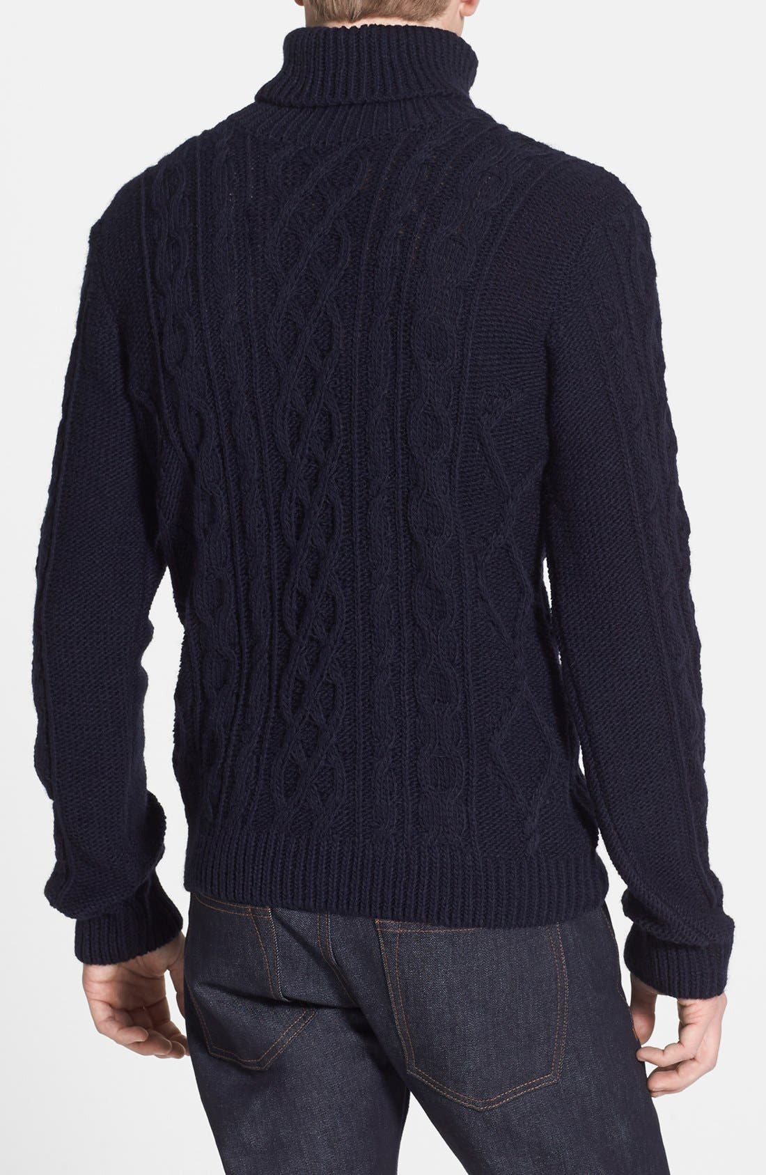 Alternate Image 2  - Topman Chunky Cable Knit Turtleneck Sweater