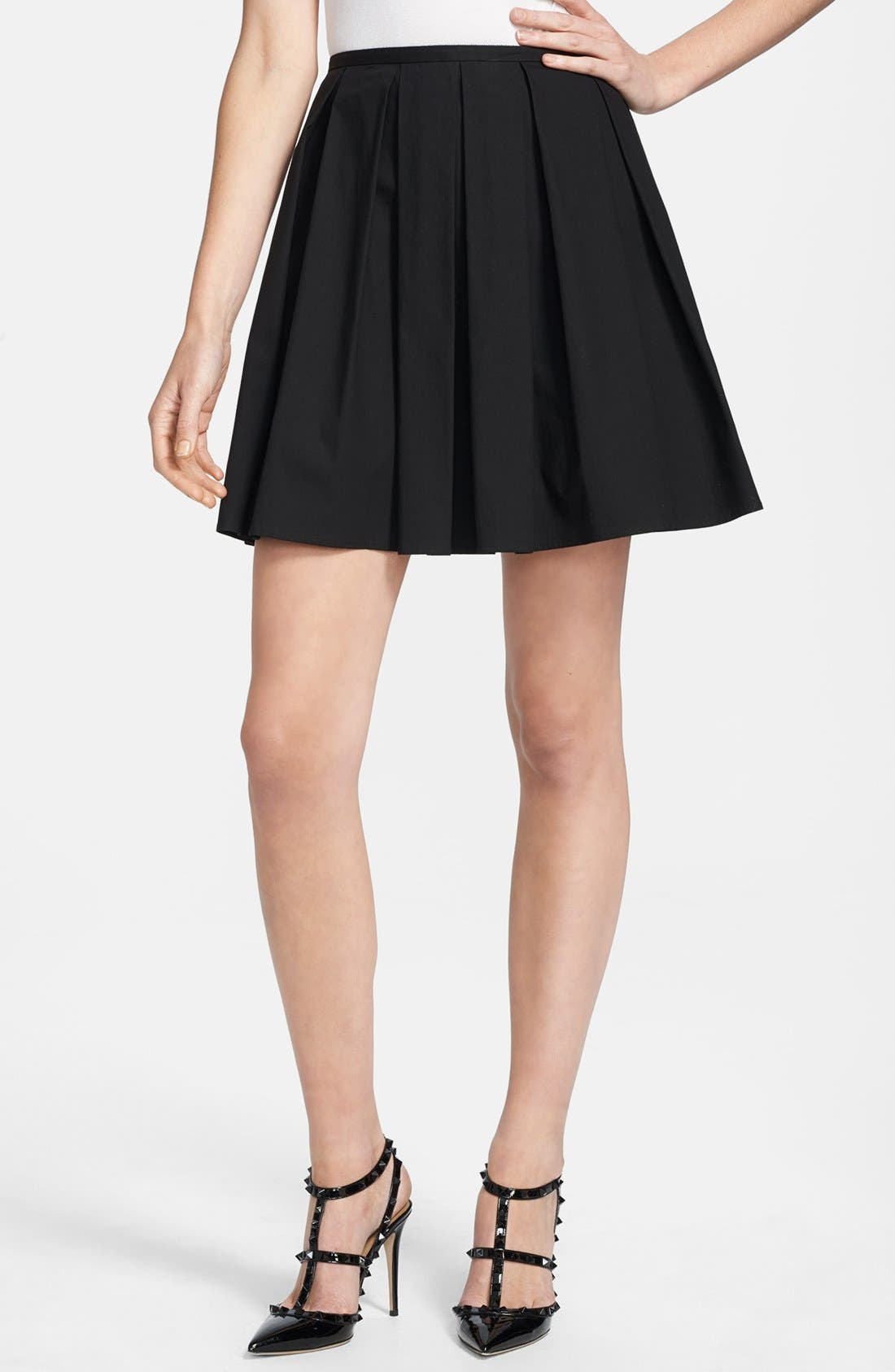 Main Image - RED Valentino Pleated Stretch Poplin A-Line Skirt