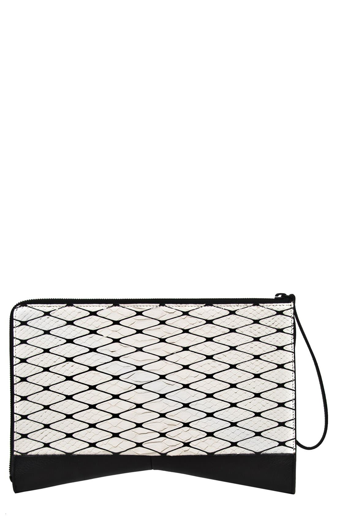 Main Image - Narciso Rodriguez 'Boomerang' Genuine Python & Leather Clutch