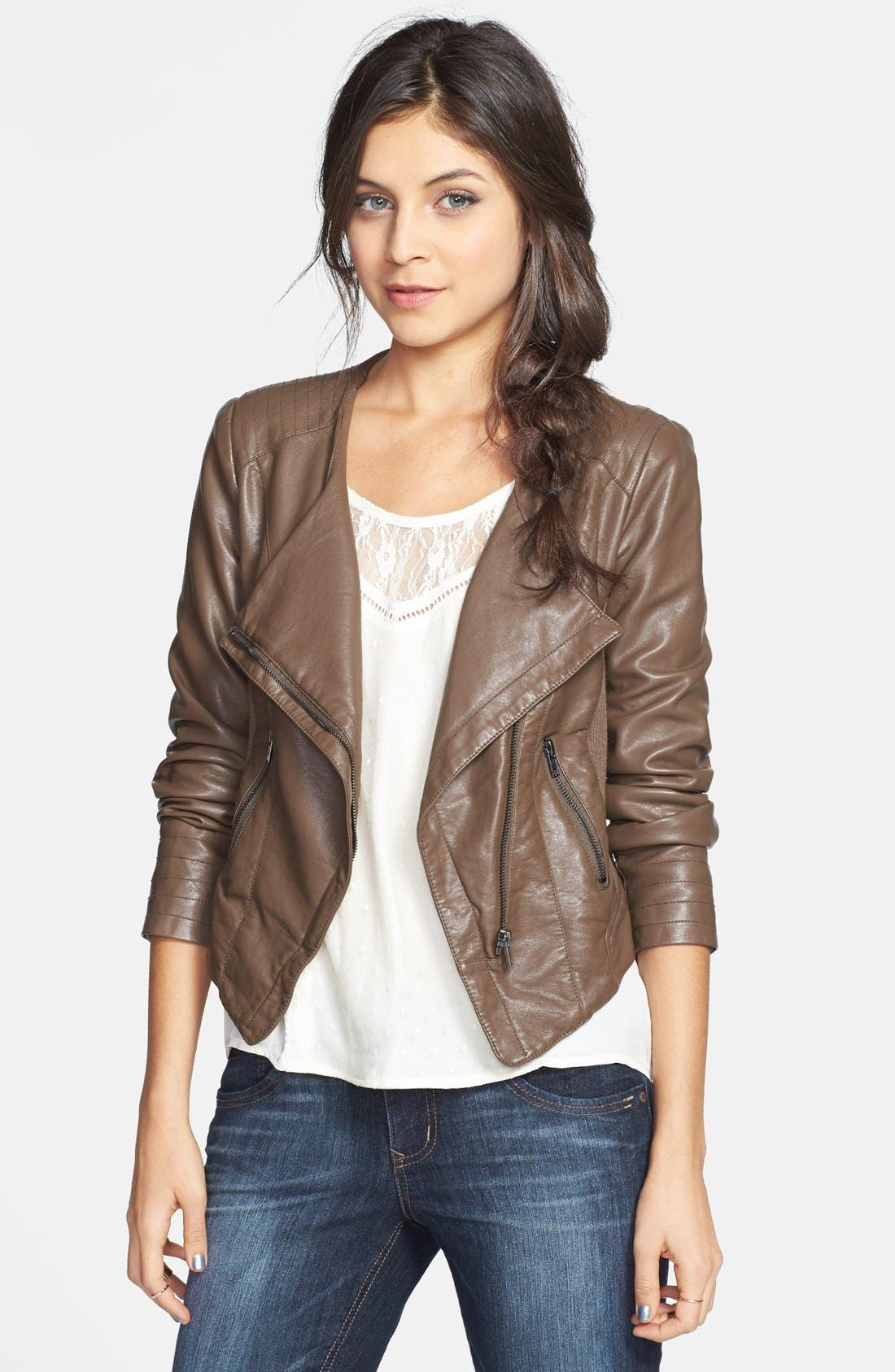 Alternate Image 1 Selected - Thread & Supply Faux Leather Moto Jacket (Juniors) (Online Only)