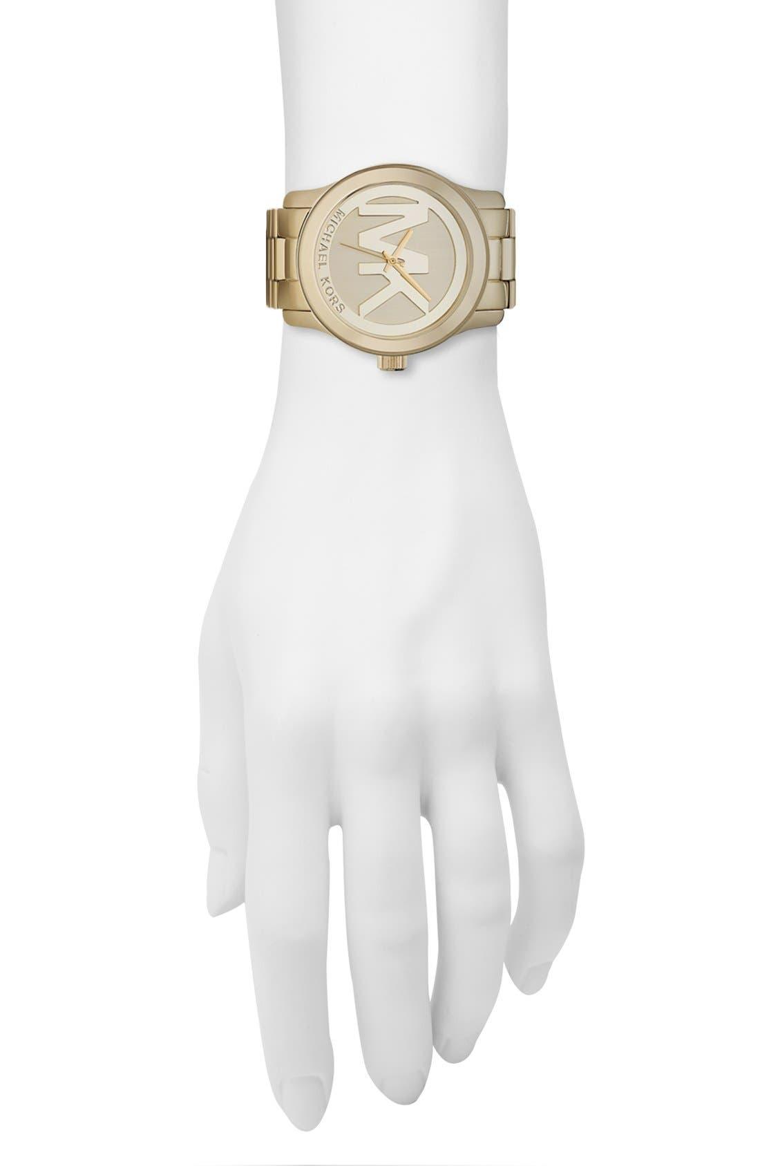 Michael Kors 'Runway' Logo Dial Watch,                             Alternate thumbnail 4, color,                             Gold