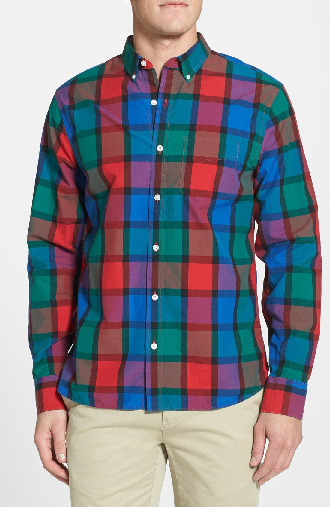 Main Image - Bonobos 'Hinsdale' Standard Fit Plaid Sport Shirt