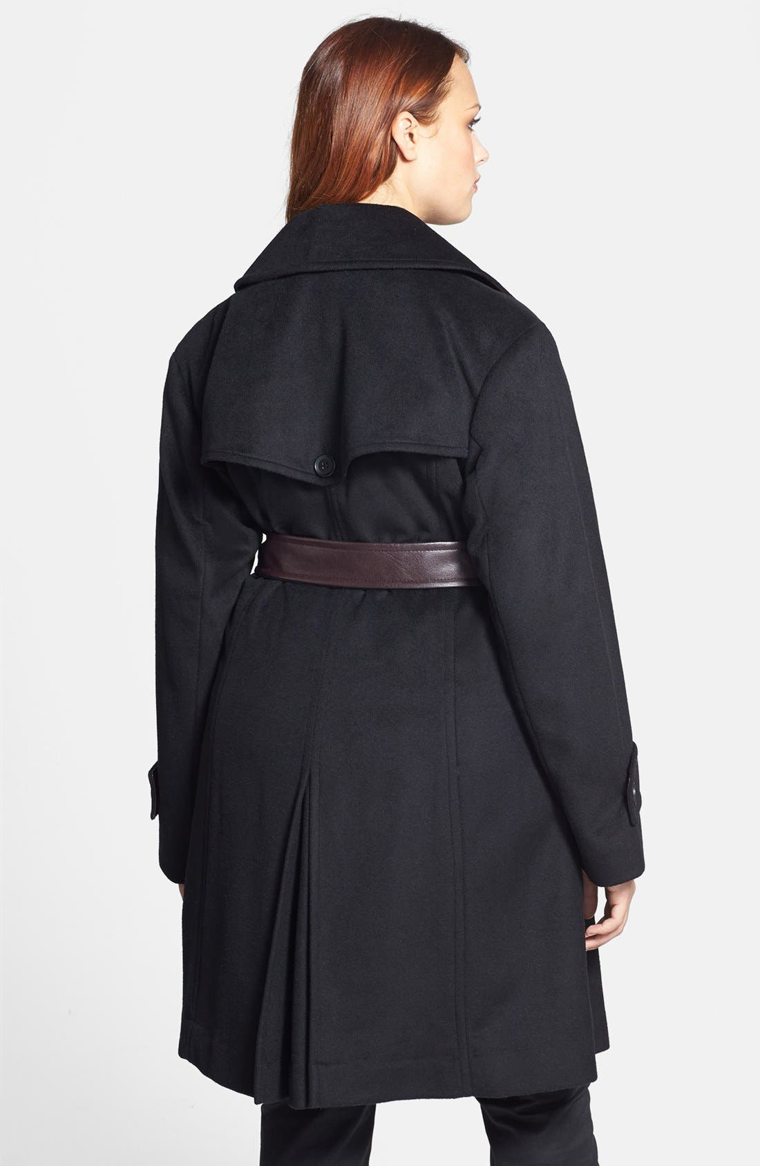 Alternate Image 2  - DKNY Wool Blend Trench Coat with Faux Leather Belt (Plus Size)