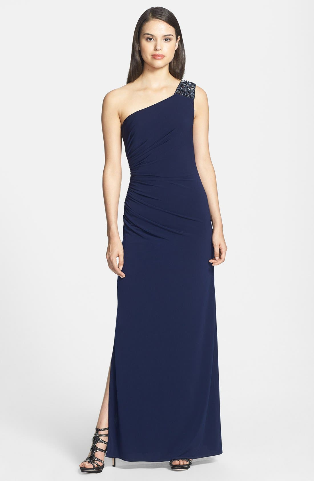 Alternate Image 1 Selected - Laundry by Shelli Segal Embellished One-Shoulder Jersey Gown