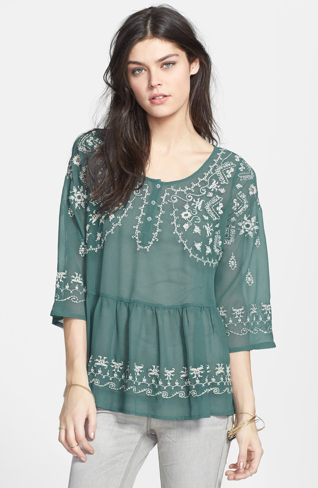 Main Image - Free People 'Pennies Sequal' Embroidered Top