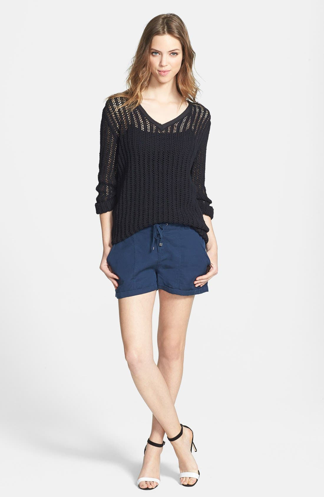 Alternate Image 4  - Two by Vince Camuto Mesh Stitch V-Neck Sweater
