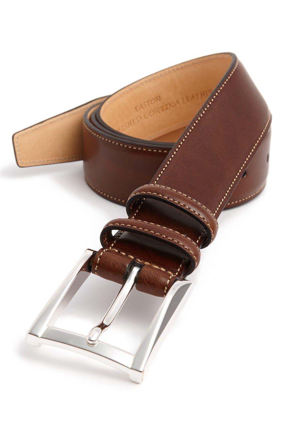 'Easton' Calfskin Belt,                         Main,                         color, Honey