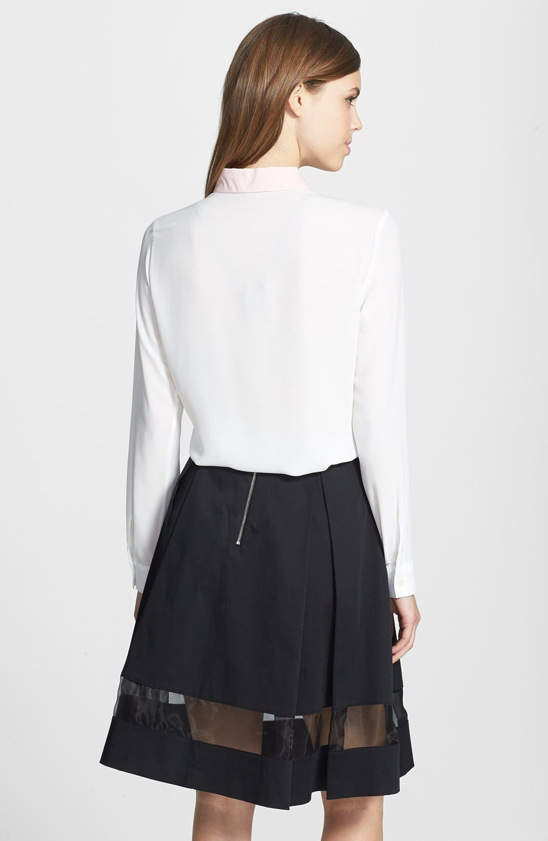 Alternate Image 5  - Vince Camuto Sheer Inset Pleated Skirt