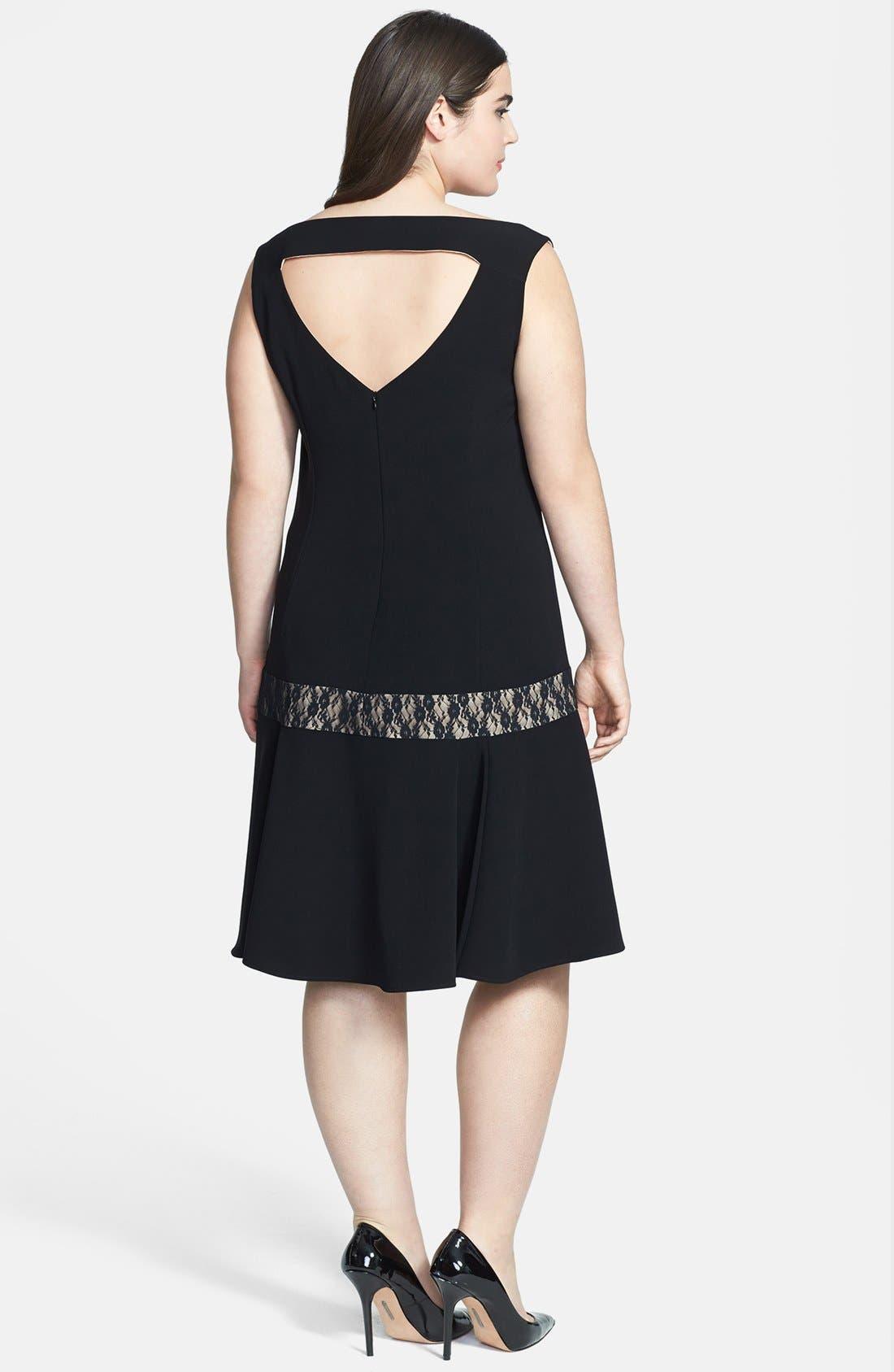 Alternate Image 2  - ABS by Allen Schwartz Lace Inset Drop Waist Dress (Plus Size)