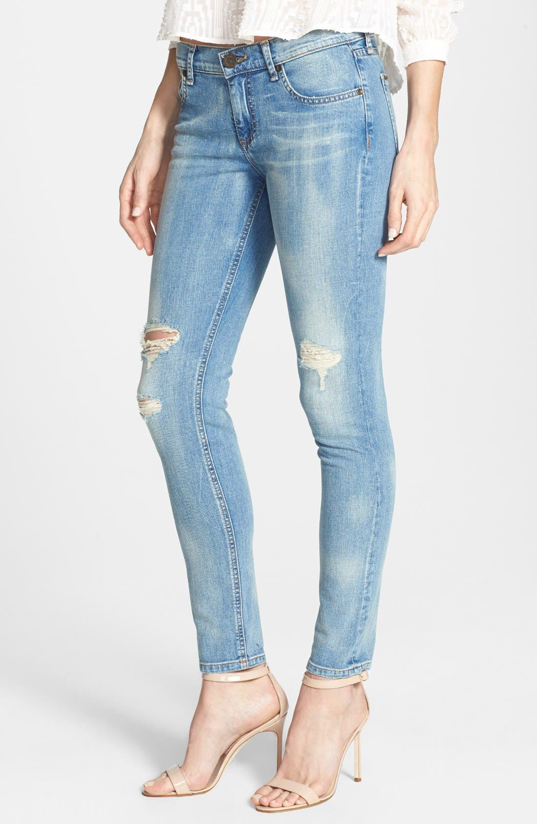 Main Image - edyson 'Sloan' Destroyed Skinny Jeans (Marmi)