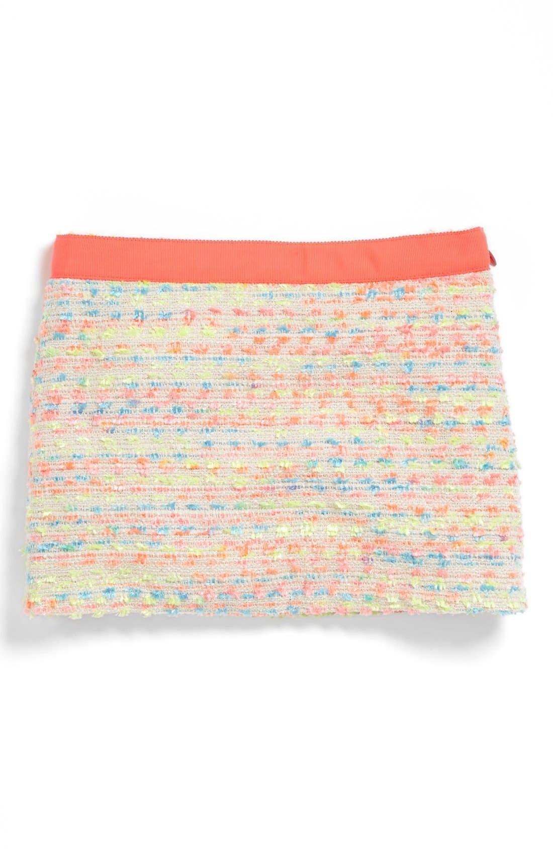 Alternate Image 1 Selected - Milly Minis Neon Tweed Skirt (Big Girls)