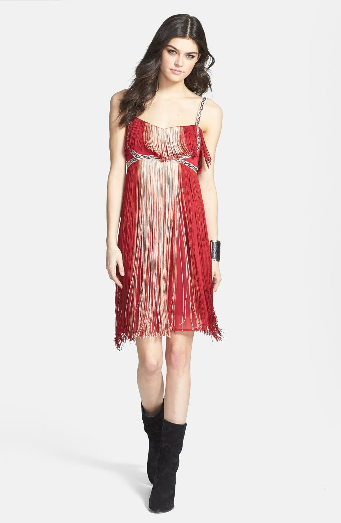 Main Image - Free People 'Deco Fringe' Chiffon Midi Dress