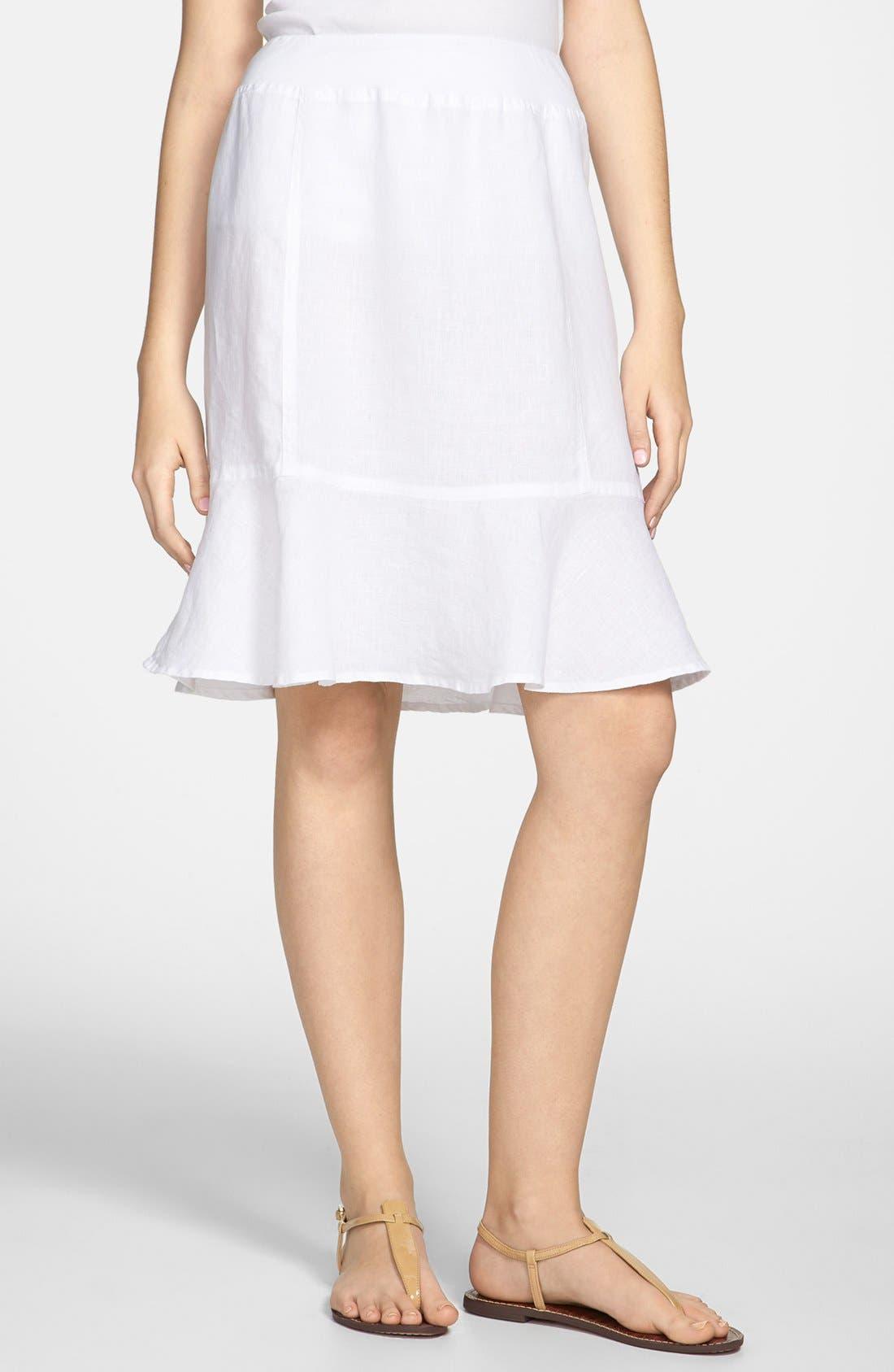Main Image - Allen Allen Ruffle Hem Linen Skirt