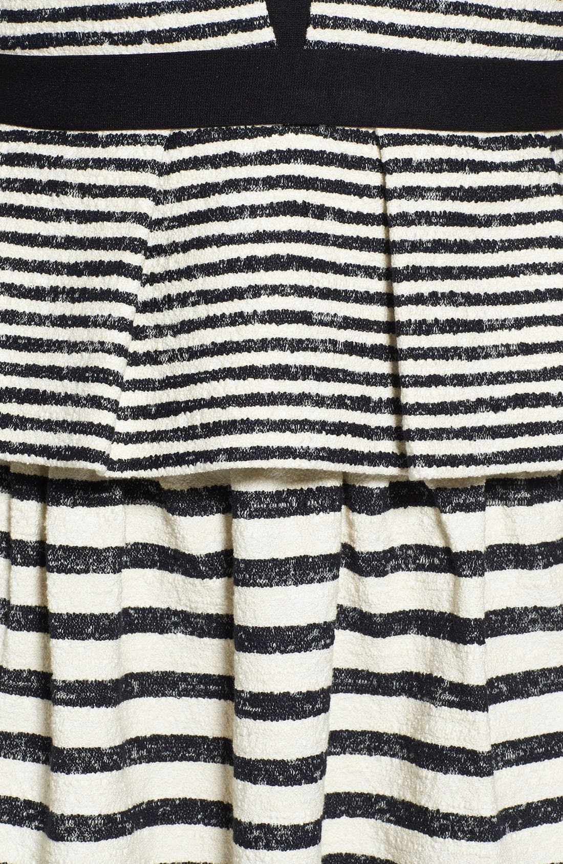 Stripe Fit & Flare Peplum Dress,                             Alternate thumbnail 3, color,                             Black/ Off White Combo