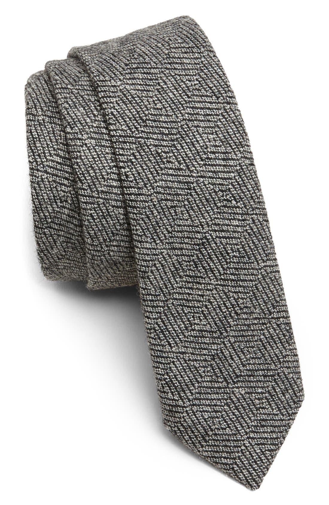 Alternate Image 1 Selected - Topman Herringbone Check Woven Tie