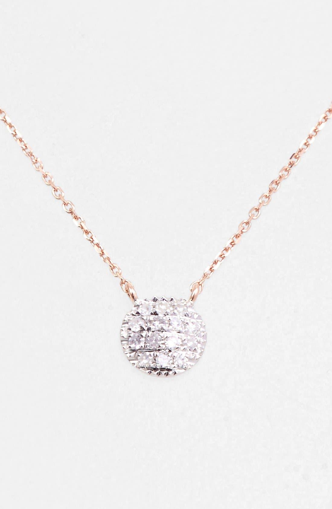 'Lauren Joy' Diamond Disc Pendant Necklace,                             Main thumbnail 1, color,                             Rose Gold