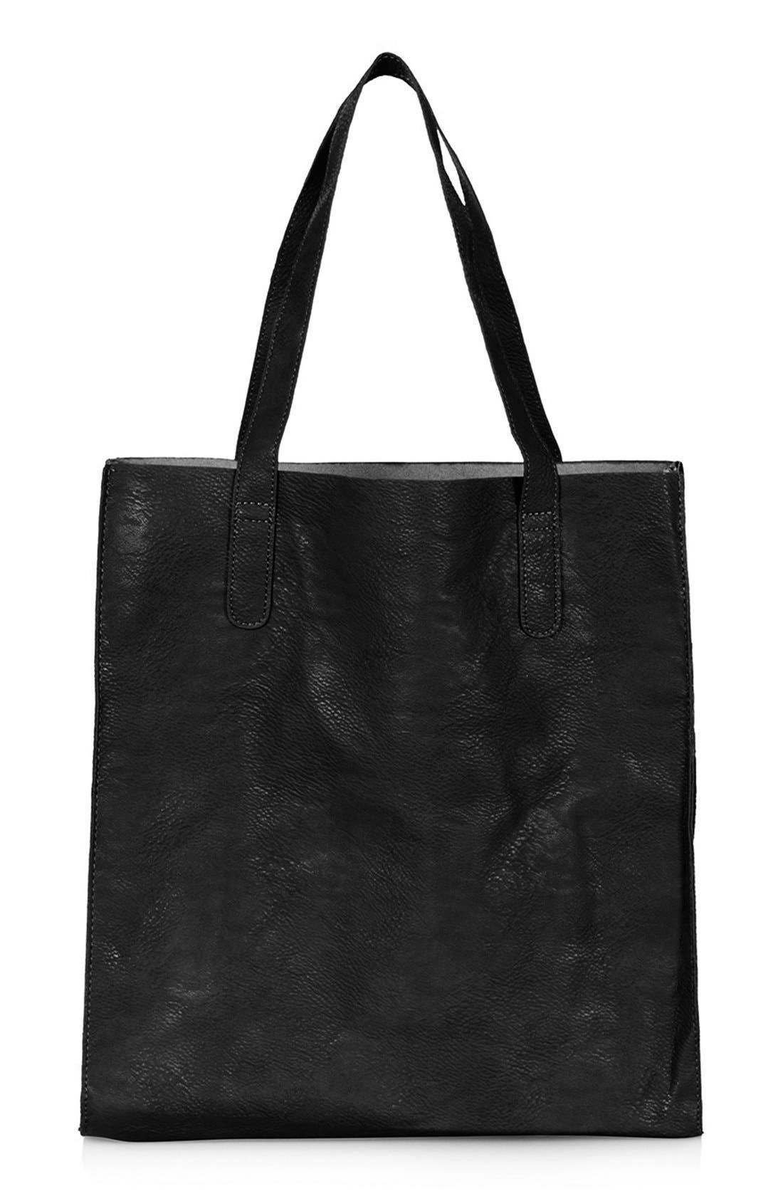Alternate Image 1 Selected - Topshop Faux Leather Shopper
